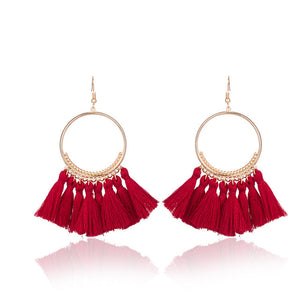 TASSEL HOOP EARRINGS RED