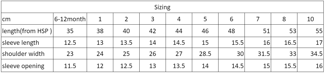 Charity Tee Size Chart