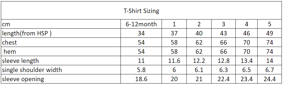 The Little Homie Tee Size Chart