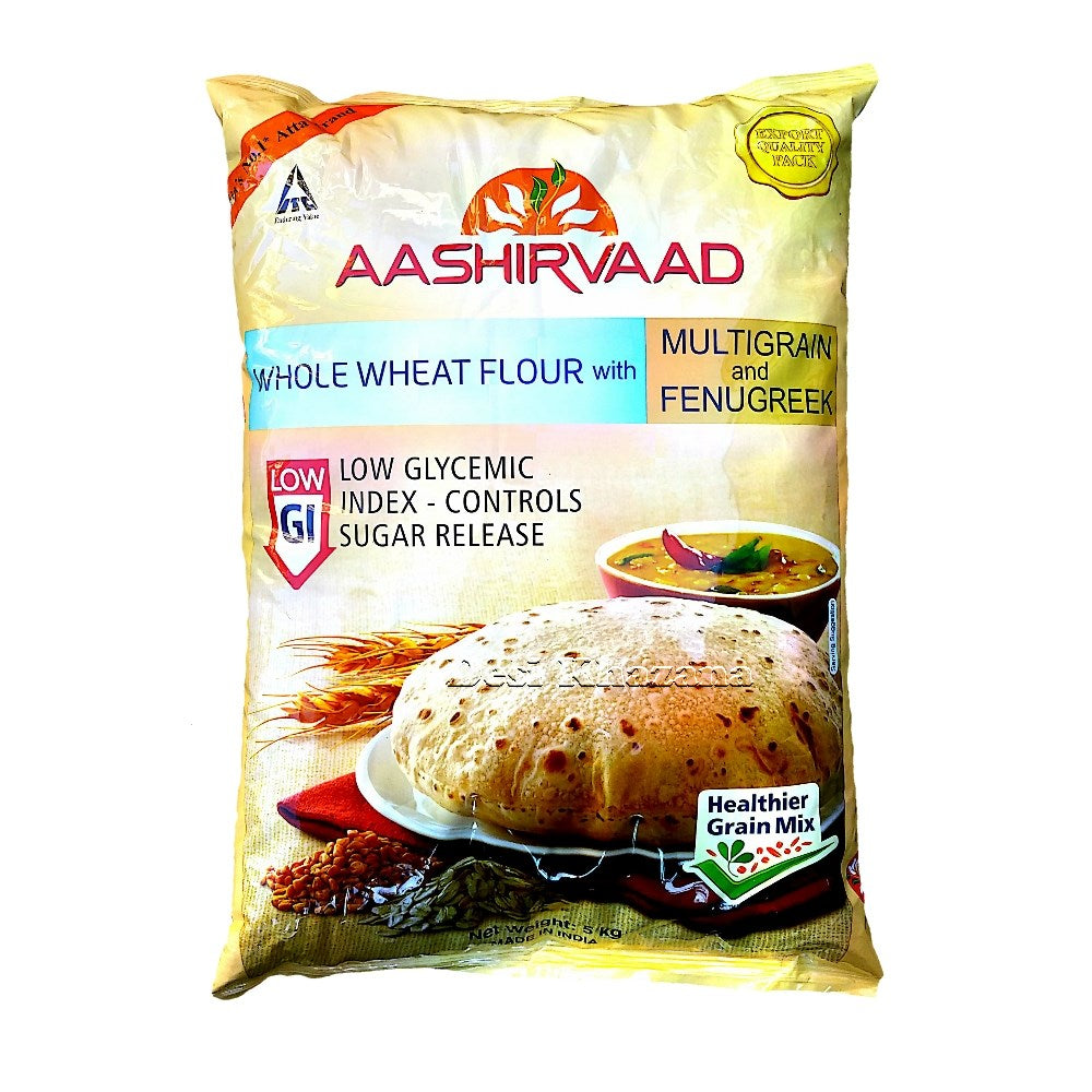 Aashirvaad Whole Wheat Atta Low GI 5 Kg - Desi Khazana