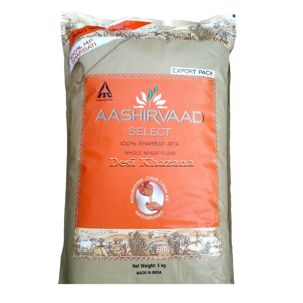Aashirvaad Sharbati Whole Wheat Atta 5 Kg - Desi Khazana