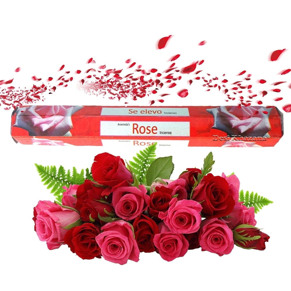 Arvinda's Rose Agarbatti Rose Incense Sticks Desi Khazana