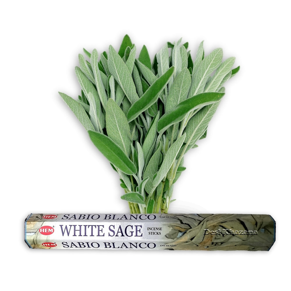 Hem White Sage Incense Sticks (Agarbatti) Desi Khazana