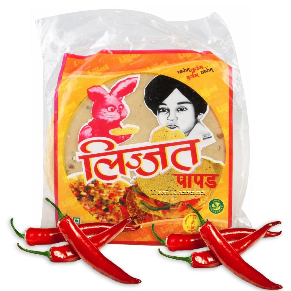 Lijjat Papad (Red Chillies) / Lijjat Papadum (Red Chillies) Desi Khazana