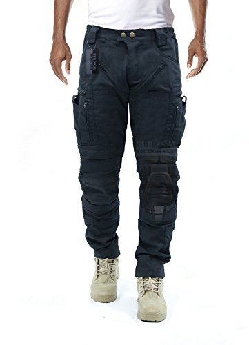 Men's Tactical Pants with Knee Protection & Air Circulation  (Black, XXL)