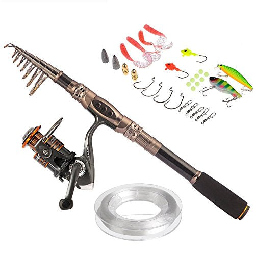 Fishing Rod and Reel - Telescopic Fishing Rod with Tackle
