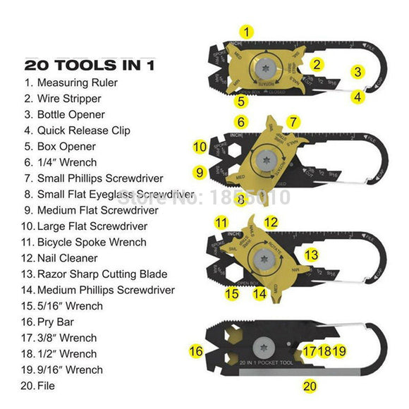 Multi-function Combination Tool - 20 in 1 Multi Tools Outdoor Portable Tool
