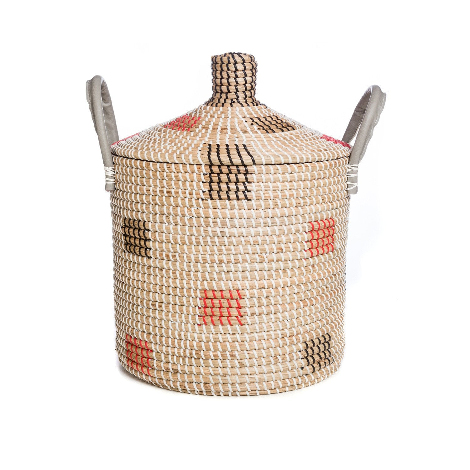 ROUND BASKET / LEATHER HANDLE