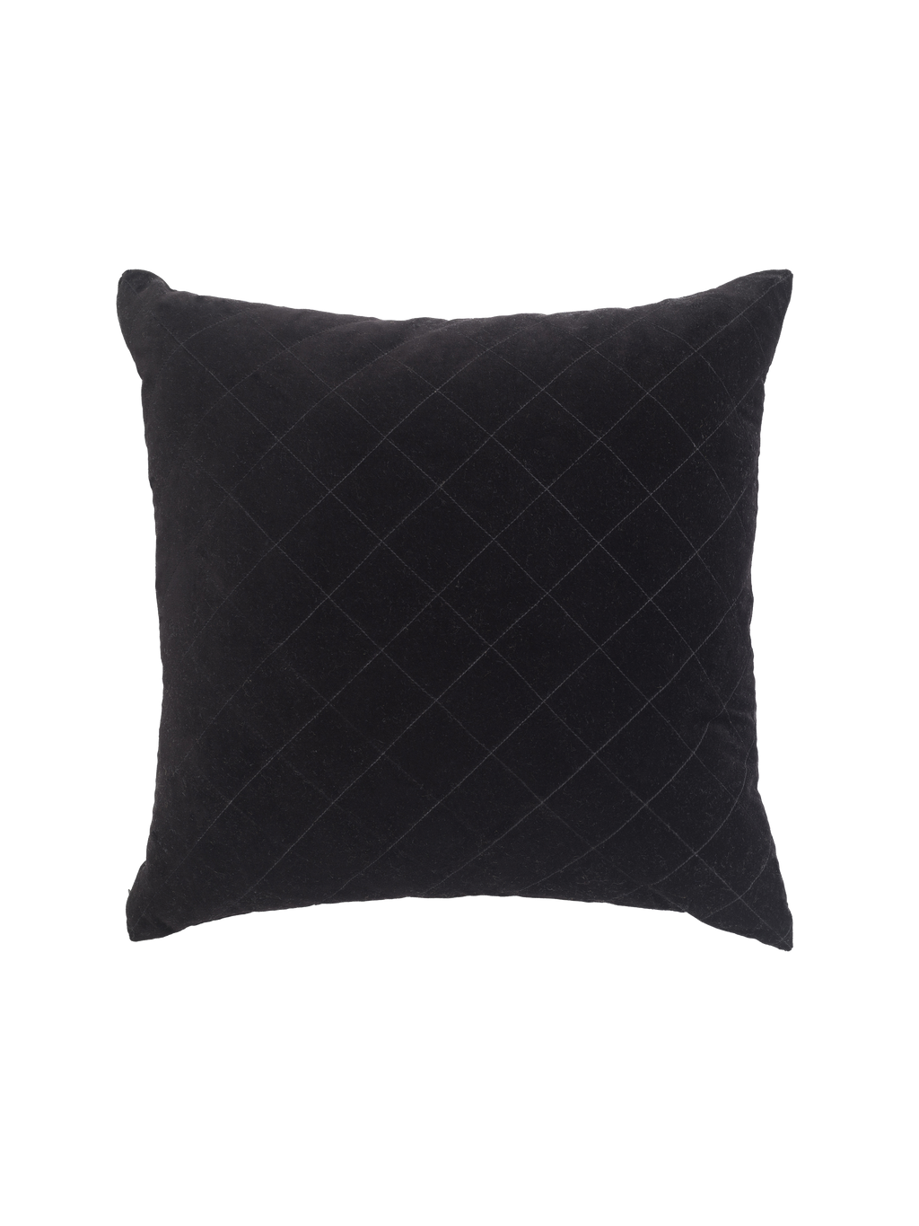 Velvet Quilted Black Cushion
