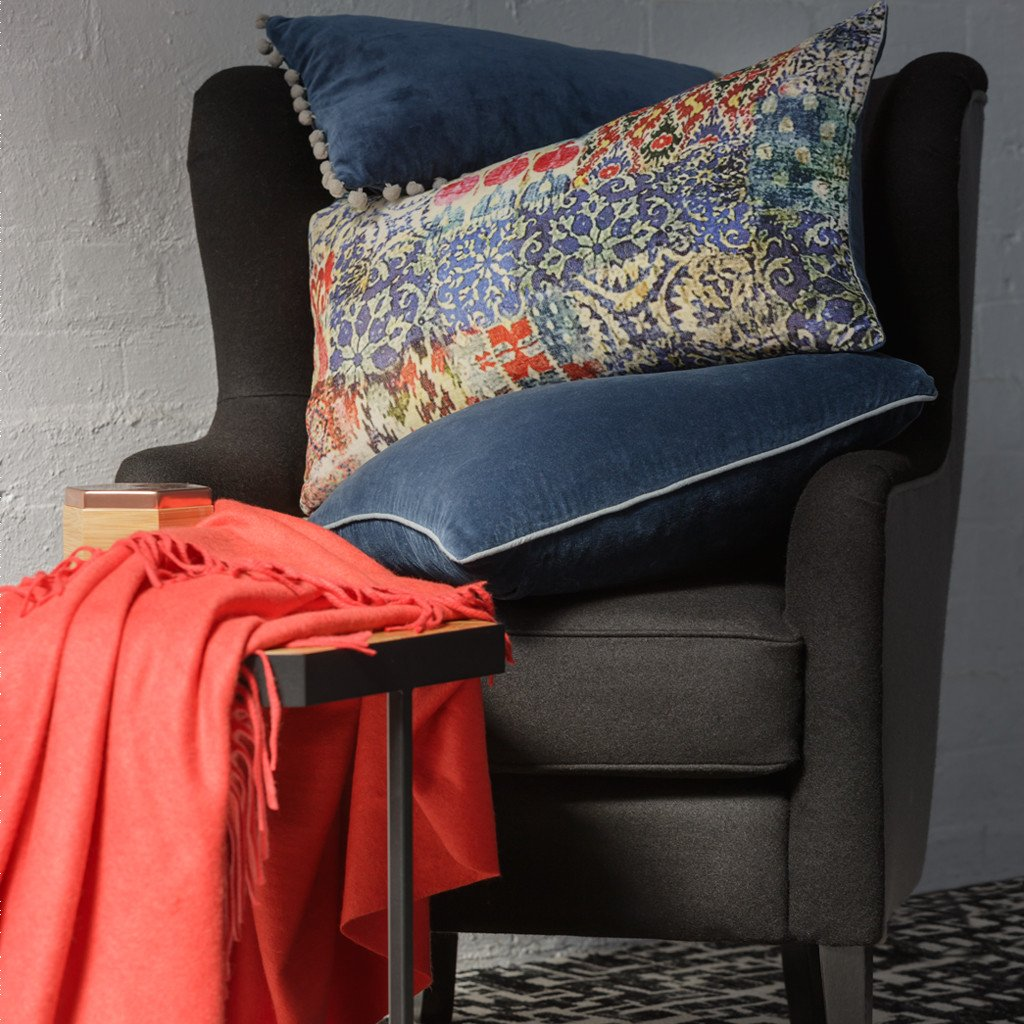 Velvet Trim Indigo Cushion