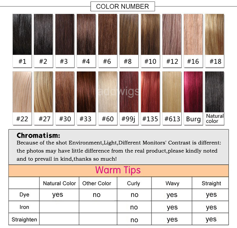 hair wigs color chart