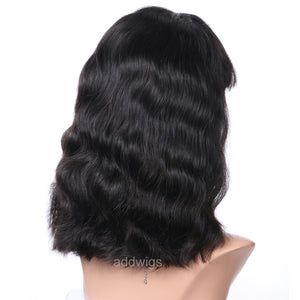 Natural Wavy Short Bob Wigs With Bang 100% Human Hair 360 Wigs