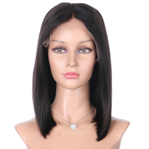 Straight Bob Wig Middle Part Short Human Hair Lace Wigs