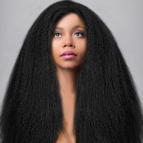 Kinky Straight Lace Front Wig Natural Color Front Lace Wigs For Black Women