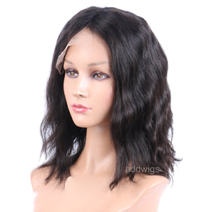 10 inch Short Bob Wig 100% Human Hair Lace Front Wigs Natural Wavy
