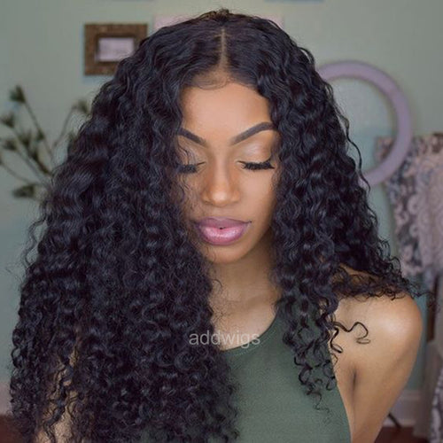 Pre-plucked Loose Kinky Curly Silk Top Human Hair Lace Wigs