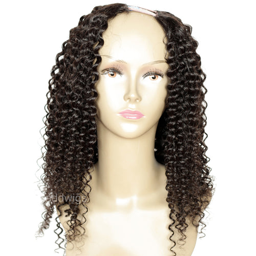 Kinky Curly U Part Wig Human Hair Left Part Wigs For Sale