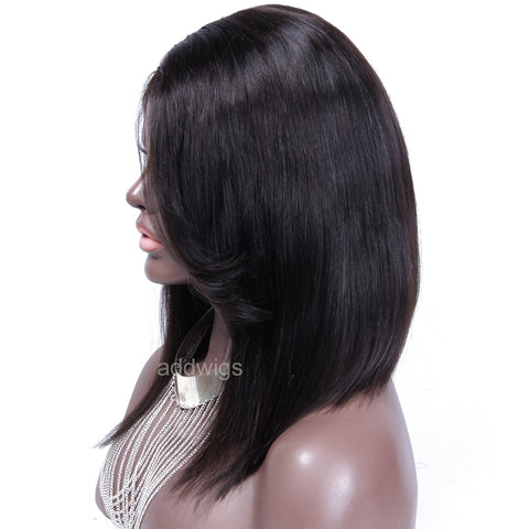 Side Part U Part Wigs with Bangs Short Bob Human Hair UPart Wig