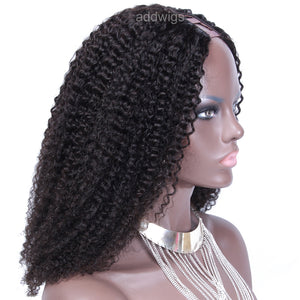 180% High Density Upart Wigs Curly Middle Part Human Hair U Part Wig