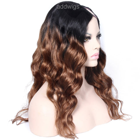 Ombre Wig Medium Auburn #30 Color Upart Wigs Body Wave Human Hair U Part Wig
