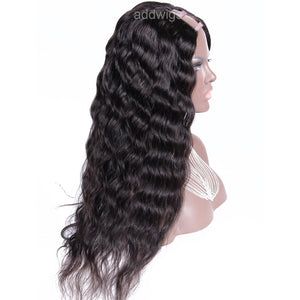 Water Wave U Part Human Hair Wig Natural Color Upart Wigs