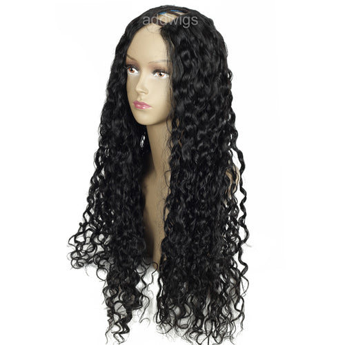 Curly U Part Wig Left Side Part Color #1 Upart Human Hair wigs