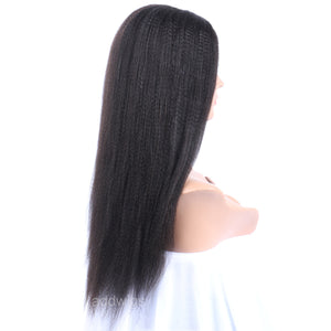 Heavy Yaki U Part Human Hair Wig For Black Women Middle Part Wigs