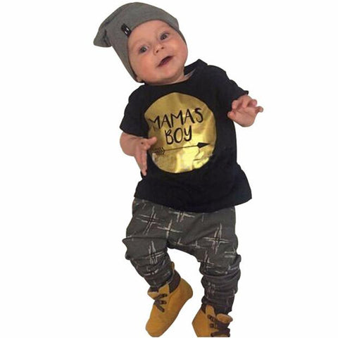 c5486ef6e Newborn Cute Baby Boy Clothing Set MAMAS BOY Cotton Tops+Pants Clothes  Suits Outfits Set