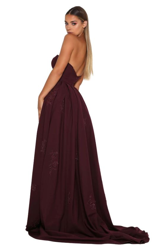 ENDORA GOWN STRAPLESS PLUM