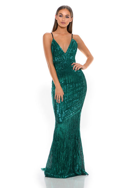 GLISTEN EMERALD EVENING DRESS