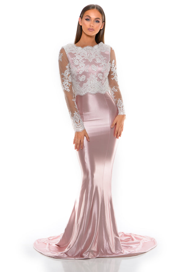 Natasha Gown long sleeve Blush/Ivory