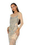 PS1947 GOWN SILVER NUDE