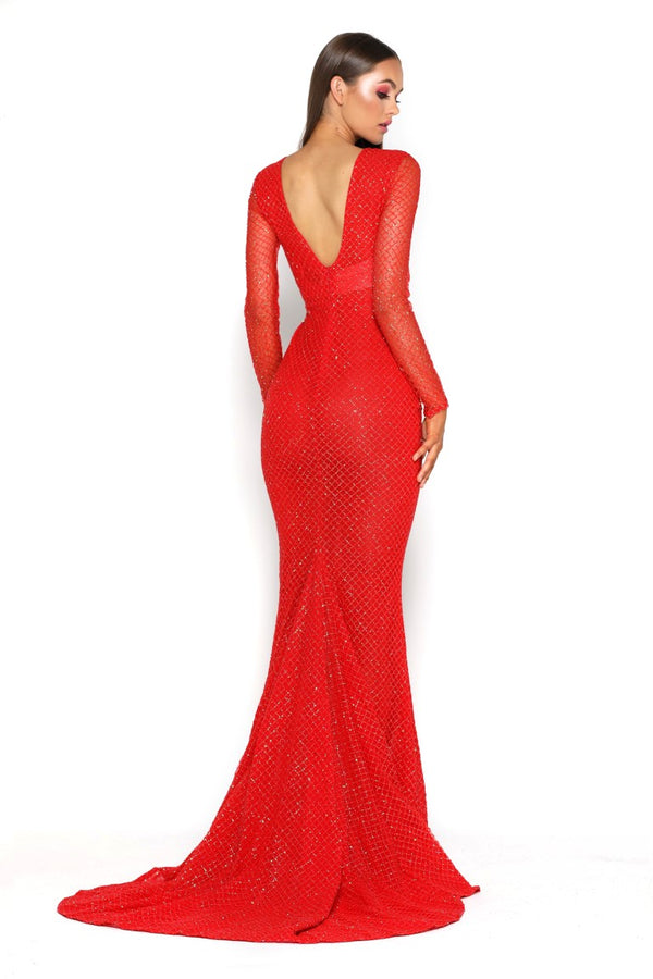 KHLOE DRESS TRAIN RED