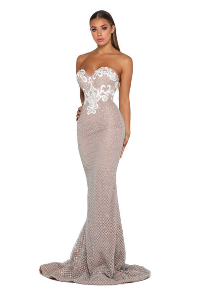 MAREE GOWN SILVER,NUDE