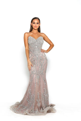 PS3015 SILVER BLUSH COUTURE DRESS