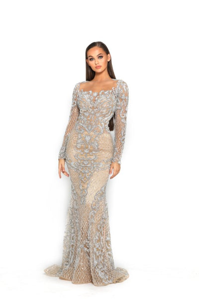PS3016 SILVER NUDE COUTURE DRESS