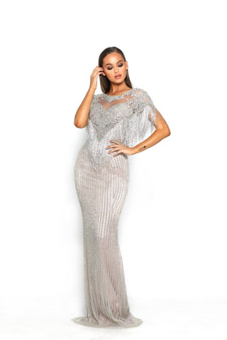 PS3017 SILVER COUTURE DRESS