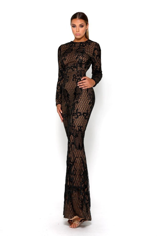 1777T BROCADE GOWN BLACK