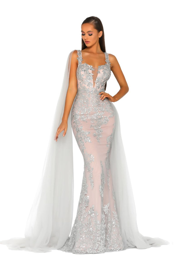 PS5011 GOWN SILVER NUDE