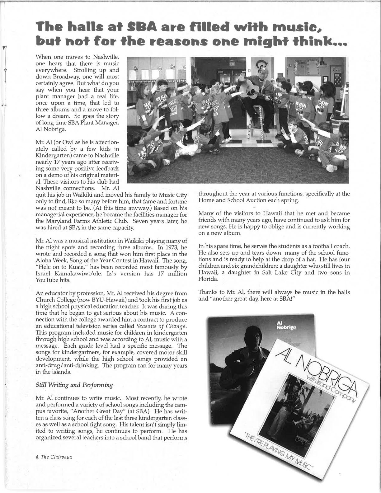 Excerpt of The Clairvaux, featuring an article on Al Nobriga, courtesy St. Bernard Academy and Carl Sabo.