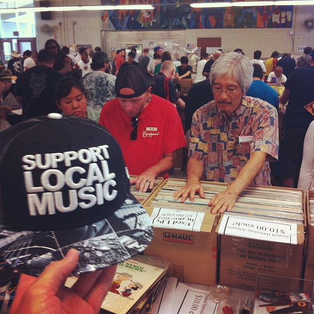 Fitted Hawaii cap at the Record Fair—Support Local Music Collectors' Habits.
