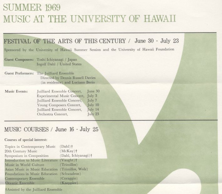 Music at the University of Hawaii Summer 1969