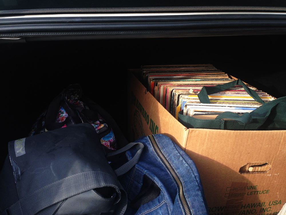 Records in the trunk of the rental car.