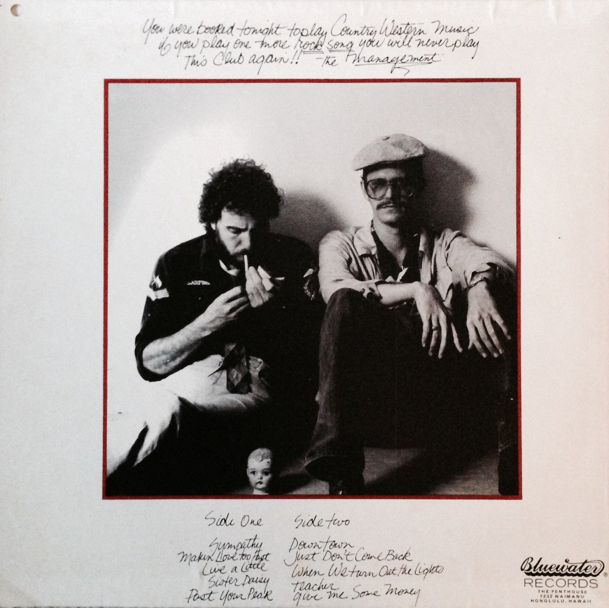 Roy & Roe - back cover