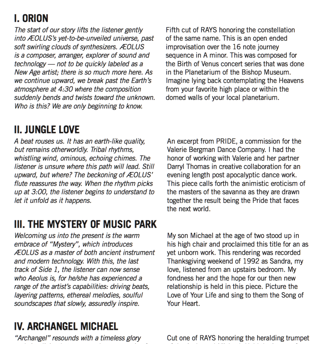 Liner notes excerpt from 'A Retrospective'.