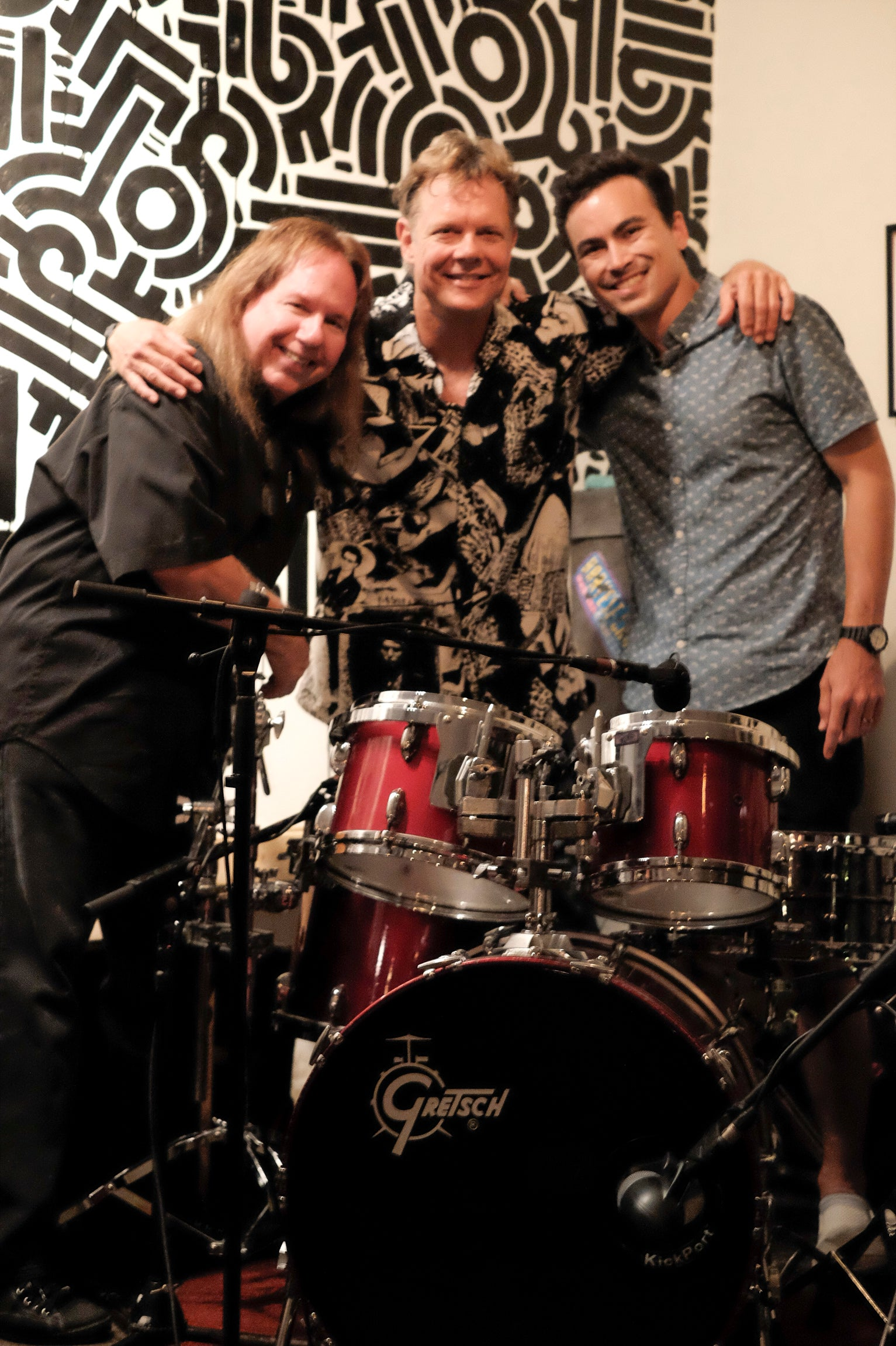 Lundy, Scott, and Roger with the original drumkit used by Mike Kennedy when recording The Rhythm Of Life in 1979!