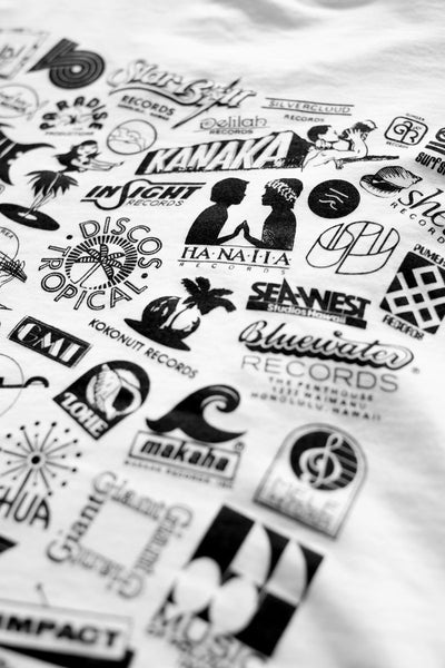 Hawaii Record Label Logos T-Shirt (White)
