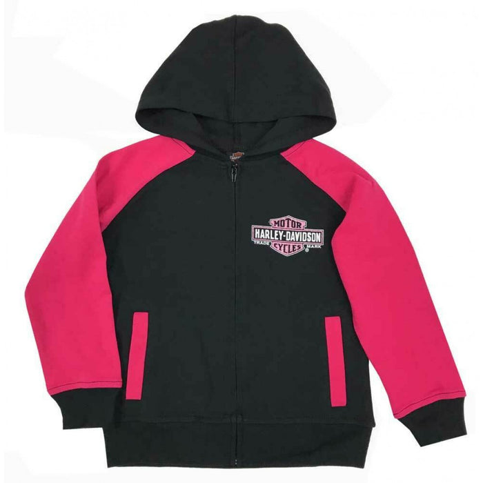 Little Girls' Knit Zippered Hoodie - Black & Pink