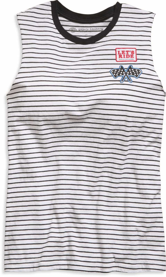 Women's Striped Raw Edge Sleeveless Shirt