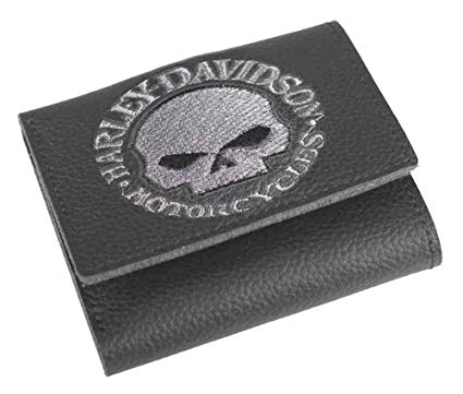 Men's Embroidered Tri-Fold Black Leather Wallet